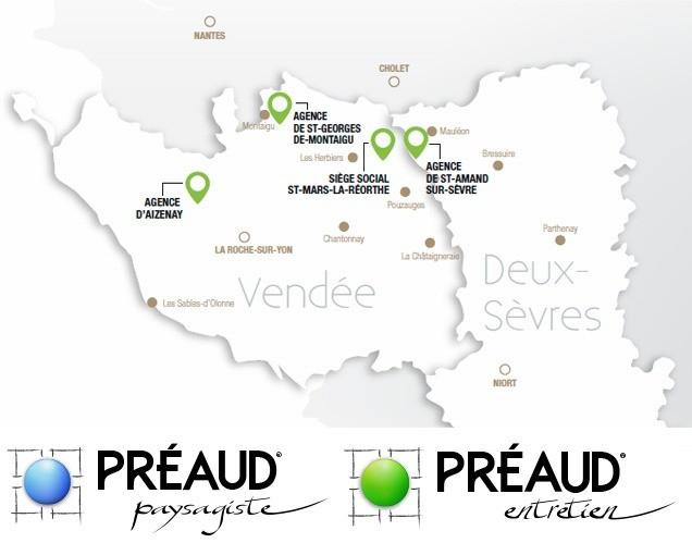 carte des agences Préaud