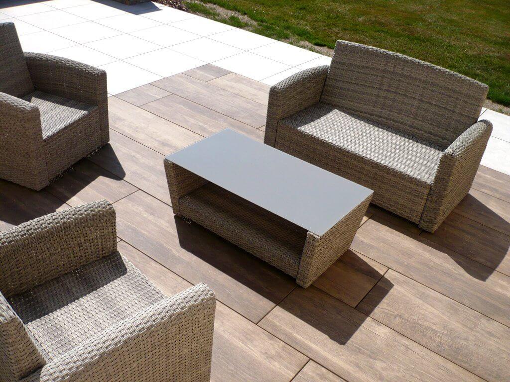 Terrasse céramique imitation bois